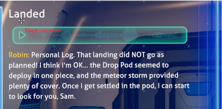 Voiceover line was missing